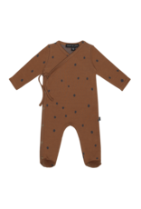 House of Jamie Wrap Babysuit | Ginger bread dots