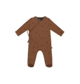 House of Jamie Wrap Babysuit   Ginger bread dots
