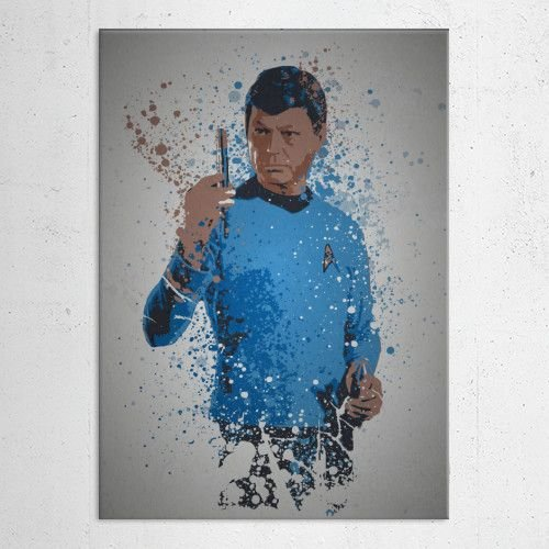 Splatter effect artwork inspired by Dr Leonard McCoy
