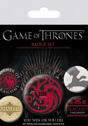 GAME OF THRONES - PACK 5 BADGES - FIRE AND BLOOD