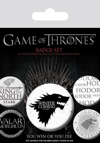 GAME OF THRONES - PACK 5 BADGES - WINTER IS COMING