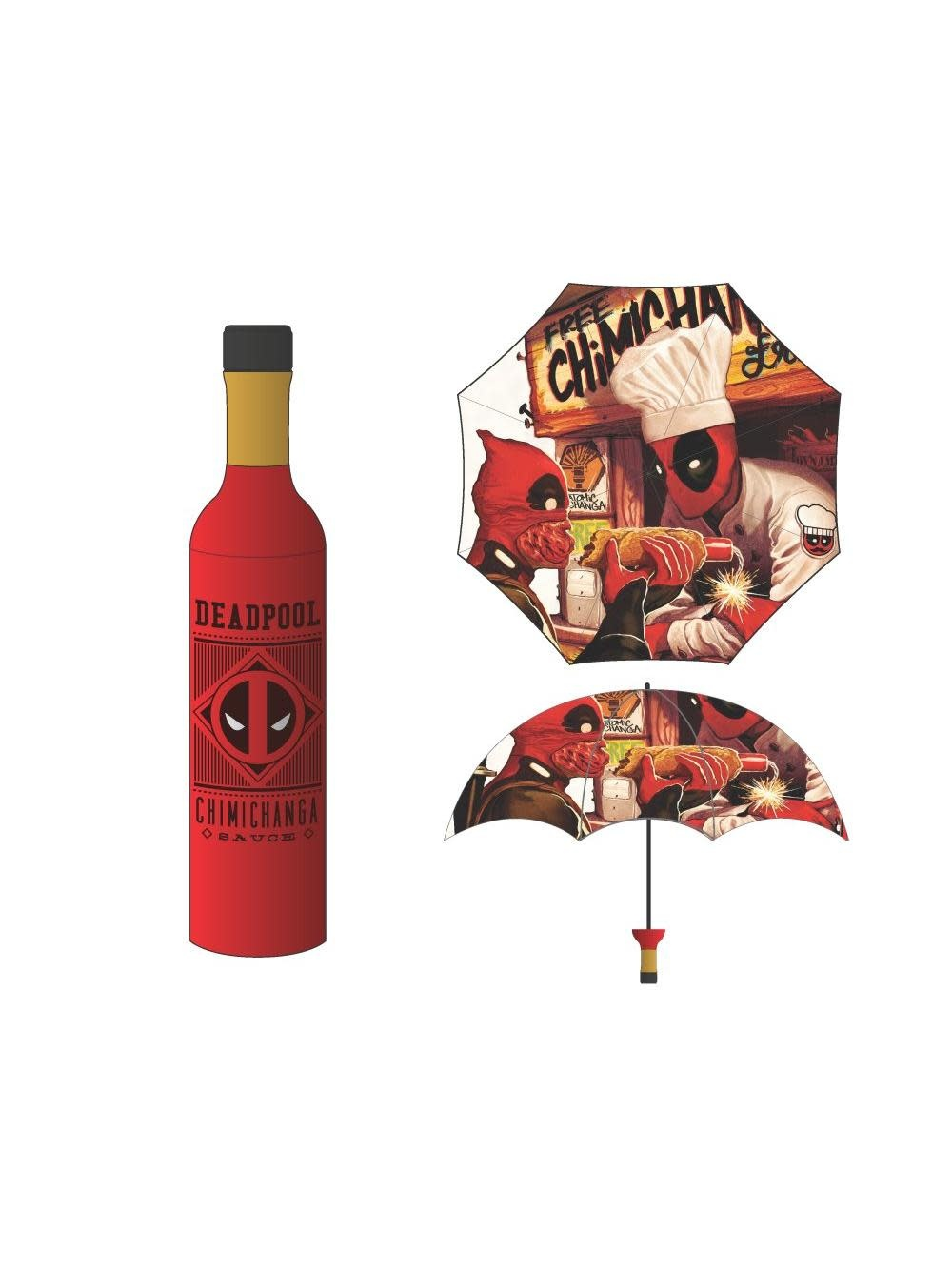 Bioworld Deadpool Chimichanga Bottle Umbrella