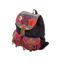 Harry Potter knapsack with stripes and patches