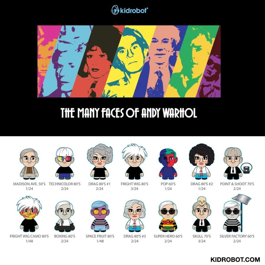 Kidrobot Blindbox : Andy Warhol: Many Faces of Andy 3 inch Vinyl Art Mini Series (price for one piece)