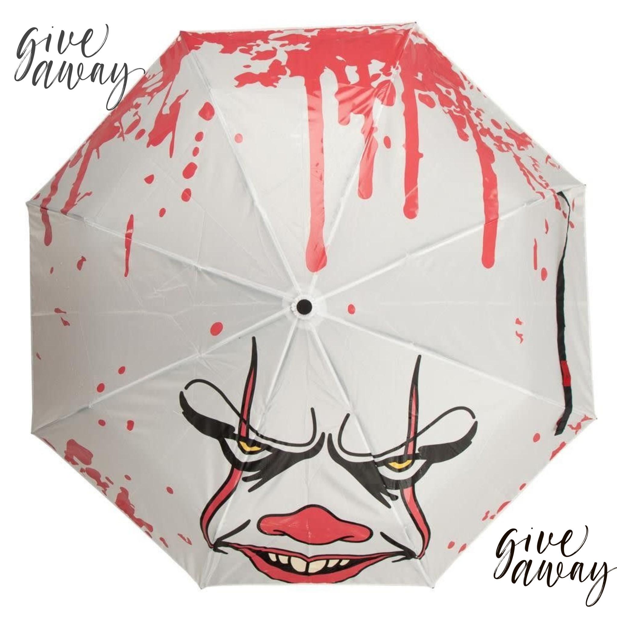 Give Away ! We geven drie van deze IT: Raining Blood Pennywise Liquid Reactive Umbrellas  weg .