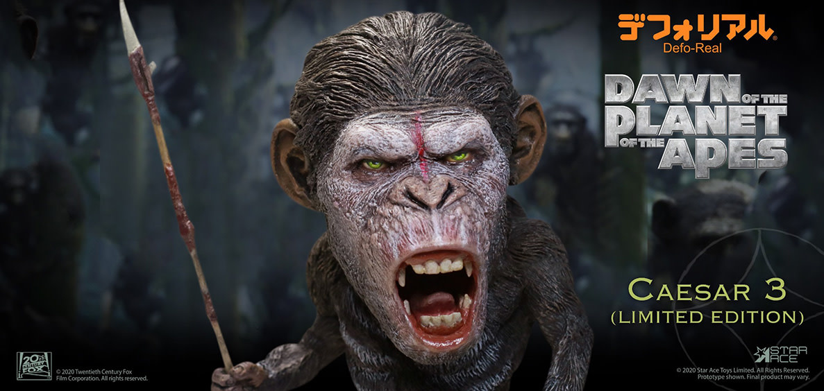 Star Ace Dawn of the Planet of the Apes: Defo-Real Warrior Face Caesar PVC Statue