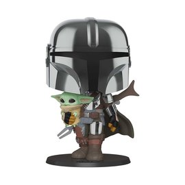FUNKO Pop! Star Wars: 10 inch Mandalorian with chrome armour