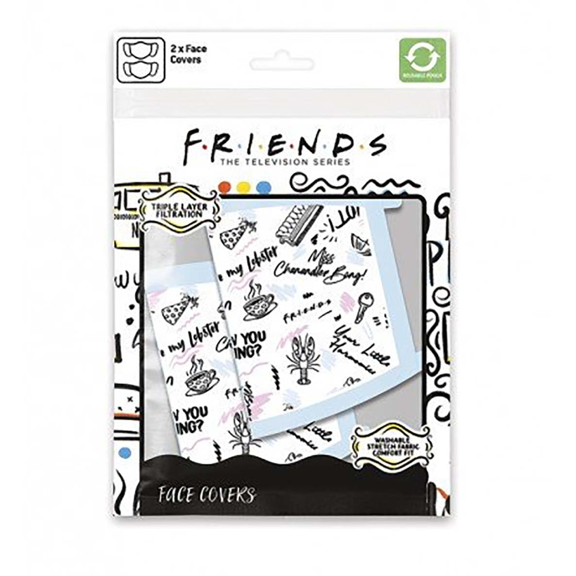 Hole In The Wall Friends Central Phrases - Facemask (x2)