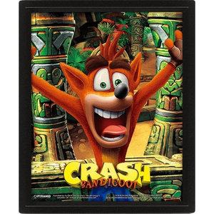Hole In The Wall Crash Bandicoot Mask Power Up Framed 3D Poster