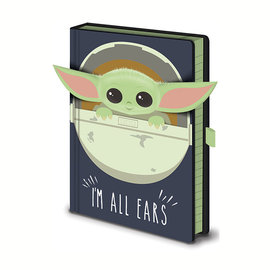 Hole In The Wall Star Wars The Mandalorian The Child I Am All Ears Crib Premium A5 Notebook