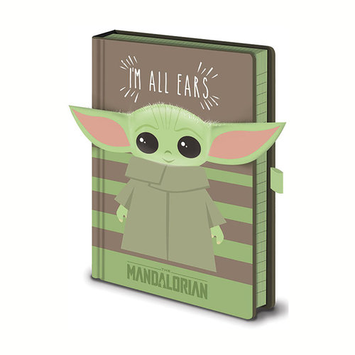Hole In The Wall Star Wars The Mandalorian The Child I Am All Ears Green Premium A5 Notebook