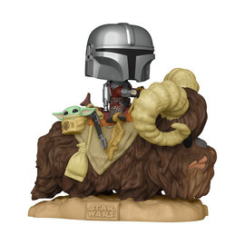 FUNKO Pop! Deluxe: Star Wars The Mandalorian - The Mandalorian on Bantha with Child in Bag