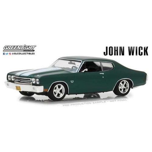 Greenlight John Wick 2: 1970 Chevrolet Chevelle SS396 Green-White Stripes 1:43 Scale Vehicle