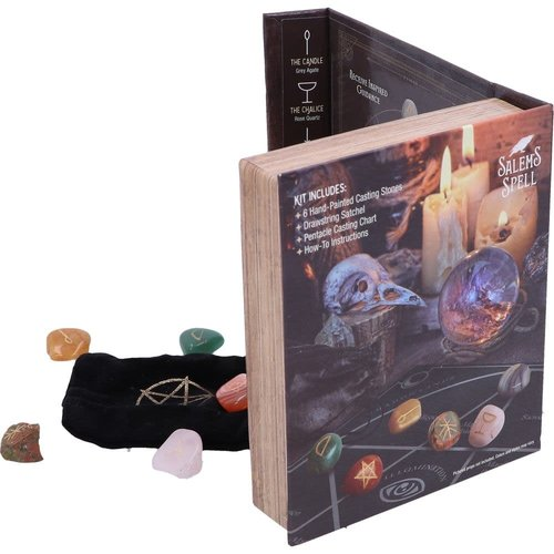 Nemesis Now Ltd Salem's Spell Kit Set of Six Witches Wellness Stones in Decorated Box