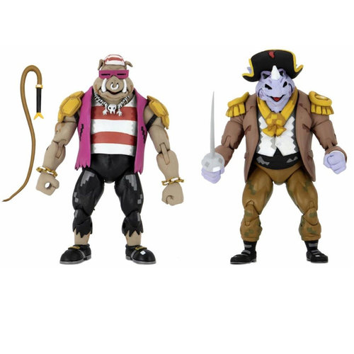 NECA TMNT: Turtles in Time - Pirate Rocksteady and Bebop 7 inch Action Figure 2-Pack