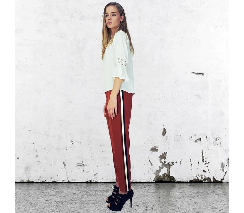 Pants Larna burned/stripe