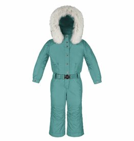 Poivre Blanc Girls Fur Trim Ski Overall Blue