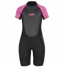 Girls Basking Shorty Wetsuit Black/Pink