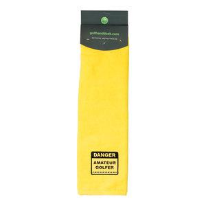 Nova Golf 'Danger Amateur Golfer' Golf Towel - Yellow Black