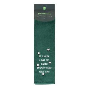 Nova Golf 'It Takes A Lot Of Balls' Golf Towel - Green White