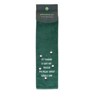 Nova Golf 'It Takes A Lot Of Balls' Golfhanddoek - Groen Wit