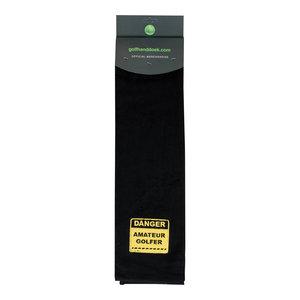 Nova Golf 'Danger Amateur Golfer' Golf Towel - Black Yellow
