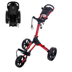 FastFold FastFold Square Golf Trolley - Red Shiny Black
