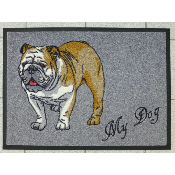 """Logomatte """"Bulldogge"""" mit Namen. (bis max. 8 Zeichen)"""