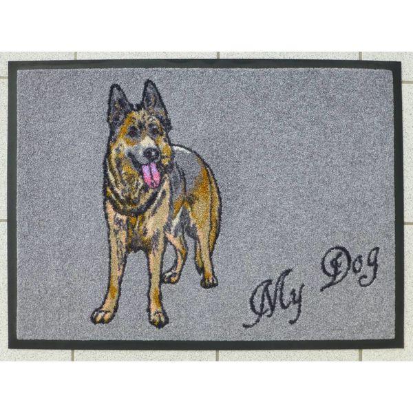"""Logomatte """"Schäferhund"""" mit Namen. (bis max. 8 Zeichen)"""