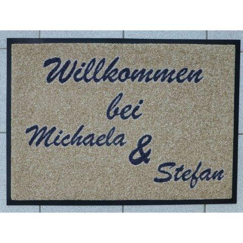 """Schmutzfangmatte - """"Willkommen""""- mit Namen"""