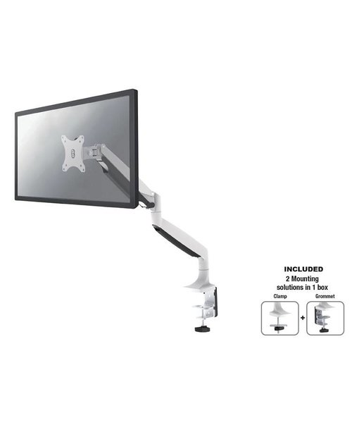 "Neomounts NM-D750WHITE Flat Screen Desk mount (10-32"") desk clamp/grommet"