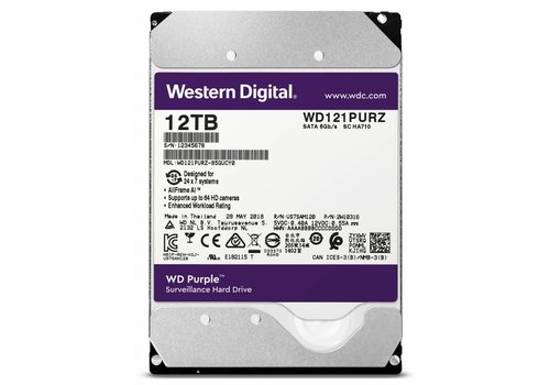 "Western Digital (WDC) 12TB 7.200 rpm 3.5"" SATA Surveillance HDD Purple"