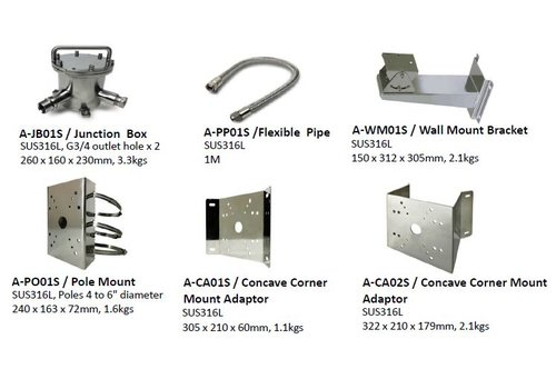 "Smart Security Pole Mount SUS 316L 240x163x72MMPOLES 4 ~ 6"" in DIAMETER"