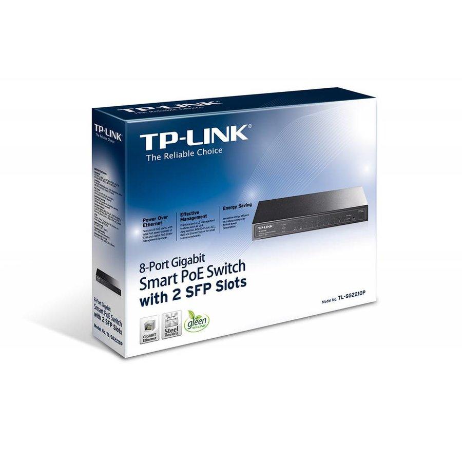 8 Port 10/100/1000 + 2 SFP (8) PoE 53W - Desktop