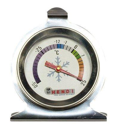 Hendi Koelkast Thermometer 60x70 mm - RVS Behuizing - 50 tot 25 graden - Ø60x(H)70 mm