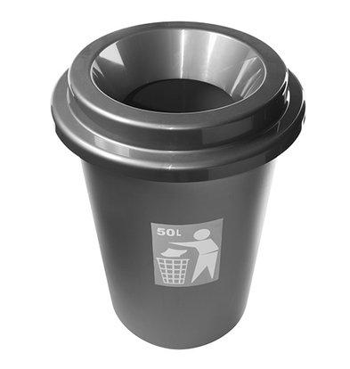 XXLselect Afvalbak Rond 50 Liter   Grijs Kunststof   Ø420x(H)600mm