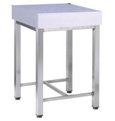 Diamond Polyethylene chopping block + Stainless Steel Frame - 500x500x900 (h) - 37 kg
