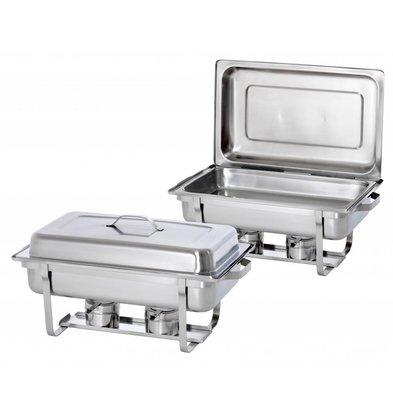 Hendi 2xChafing Dish 1/1 GN | Complete Duopack | 9 Liter | 620x350x (H) 310 mm | XXL OFFER!
