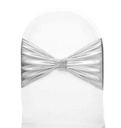 Unicover Stoelband met Zilverbandje | One Size | Wit