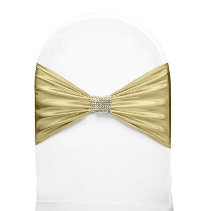 Unicover Stoelband met Zilverbandje | One Size | Crème