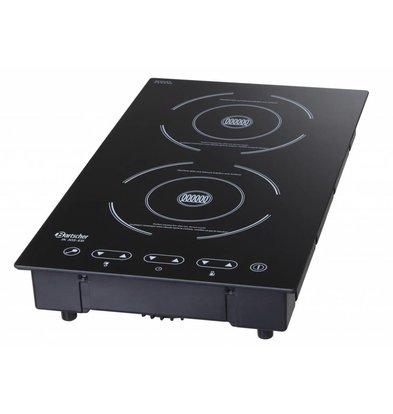 Bartscher Inductie Kookplaat | Inbouw Geschikt | Voor 1300W | Achter 1800W | 290x510x(H)83mm