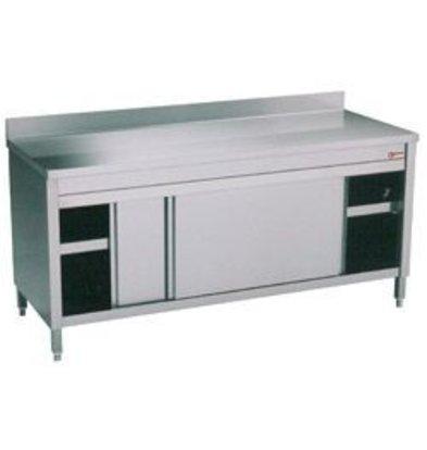 Diamond RVS Werkkast met 2 Schuifdeuren + Spatrand | 1000x600x(h)900mm