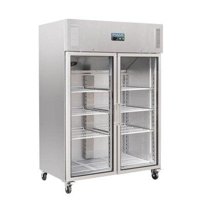 Polar Refrigerator Double Glass Door   1200L   On Wheels   1340x800x2010 (h) mm