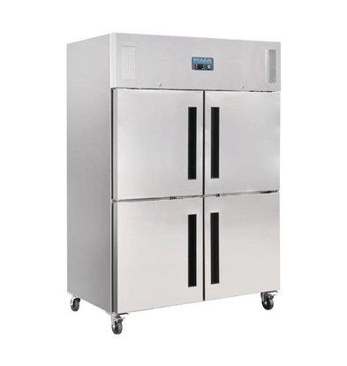 Polar Freezer Stainless Steel Doors 2x2 | 1200L | On wheels | 1340x800x2010 (h) mm