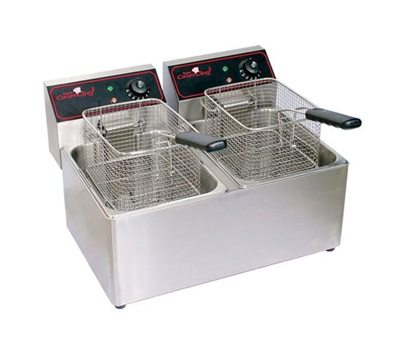 Caterchef Friteuse Caterchef | XXL AANBIEDING | 8+8 Liter | 2x3,3kW | 550x430x(H)340mm
