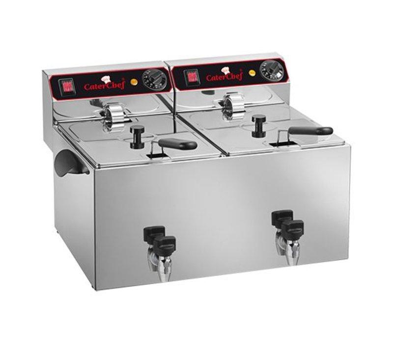 Caterchef Elektrische Friteuse   9+9 Liter   Met Aftapkraan   2x3,25kW   280x530x(H)350mm