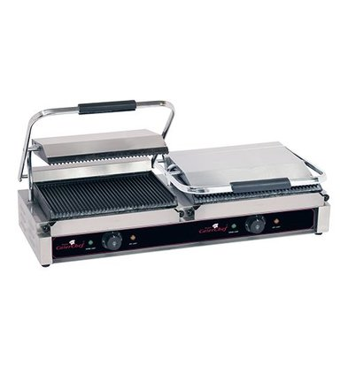 Caterchef Contact Grill Panini Double Grande | ribbed | 840x400x (H) 210mm | 2x2200W
