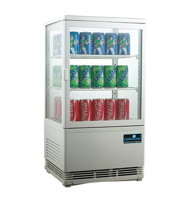 CaterCool Mini Refrigerated display case - White - 58 Liter - 2 Roosters - 43x39x (h) 81cm