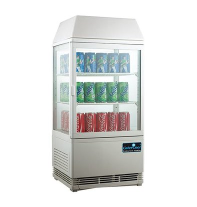 CaterCool Mini Koelvitrine - Wit - 58 Liter - Verlicht Display - 43x39x(h)93cm