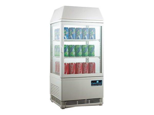 CaterCool Mini Koelvitrine - Wit - 58 Liter - Verlicht Display - 43x39x(h)93cm